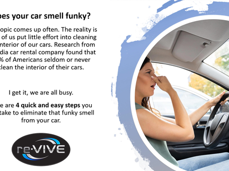Does your car smell funky? Here are 4 quick and easy steps to eliminate that funky smell.