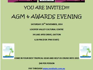 AGM & Awards Evening, 29th November, Lockyer Valley Culural Centre