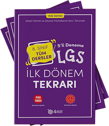 4 Adım 8.Sınıf LGS İlk Dönem Tekrarı Tüm Dersler 5 li Deneme