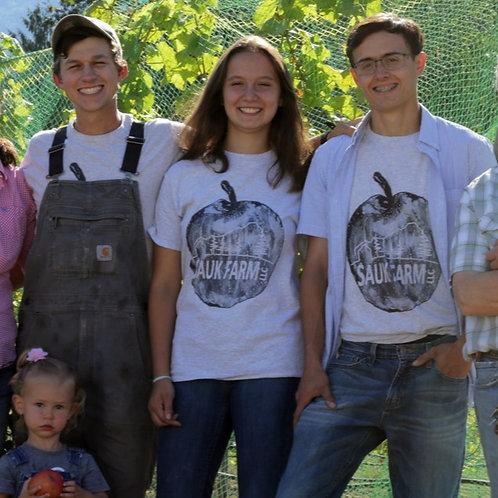 Black and White Sauk Farm Logo T-Shirt