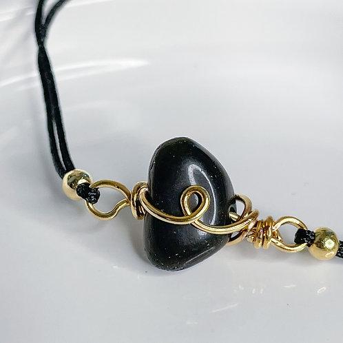 Black Onyx Crystal Adjustable Gold and black Bracelet