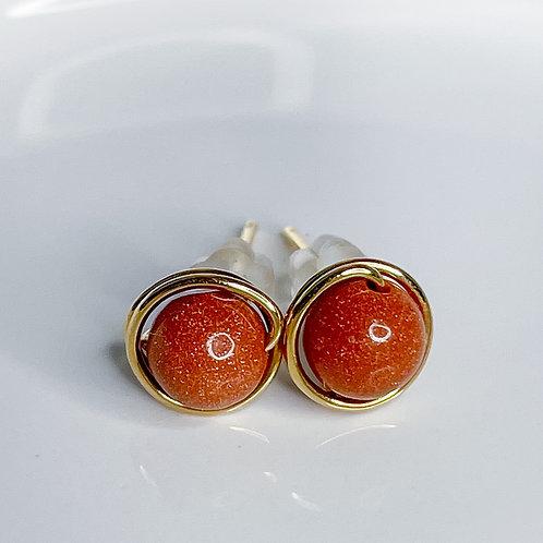 Goldstone Crystal Stud Earrings