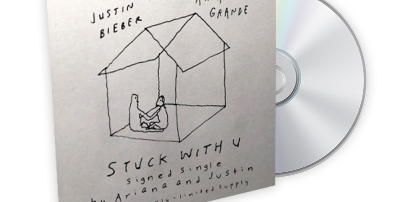 "Ariana Grande & Justin Bieber - CD Autografado ""stuck with u"""