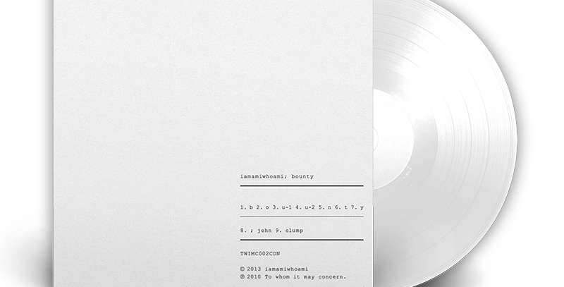 "iamamiwhoami - LP Branco ""Bounty"""
