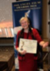 Ruth Finnegan accepts award a the Angel Film Award