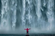 Iceland landscape photo of brave girl wh