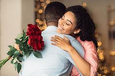 Romantic Relationship. Glad smiling afri