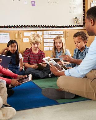Elementary school class sitting cross le
