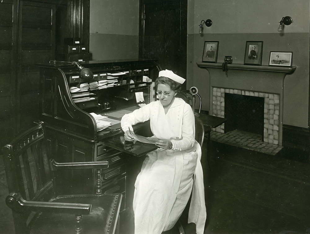 Grace Allison in her office at Lakeside Hospital in the 1920s.