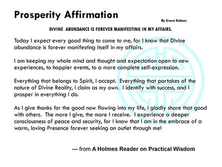 Prosperity Affirmation & Scientific Prayer