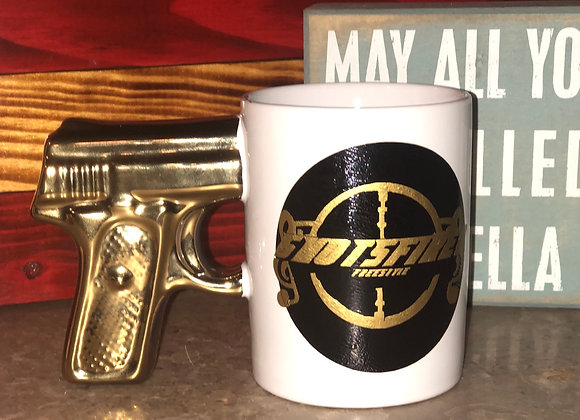 Shotsfired Mug with Gold Gun Handle