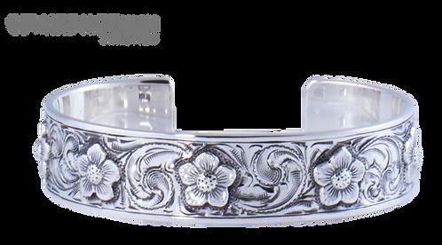 Flower Cuff Bracelet Sterling Silver Flower