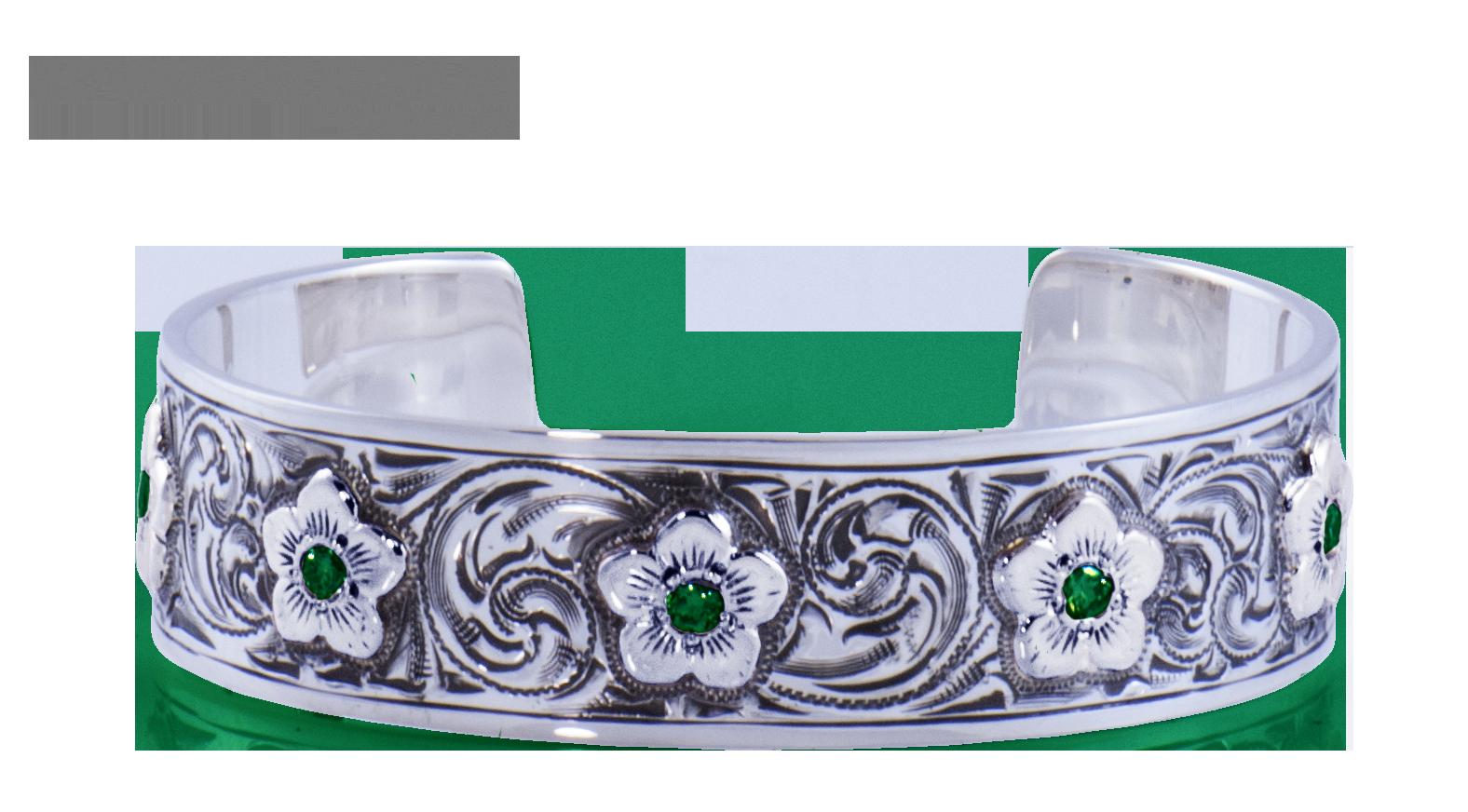 Silver Emerald Cuff