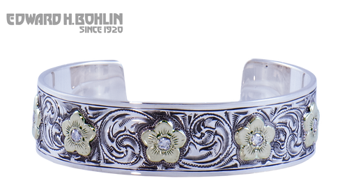 Green Gold Flower Cuff Bracelet