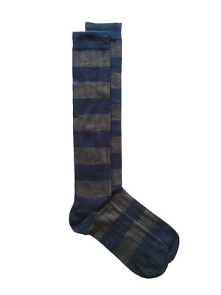Calcetín azul marino y gris