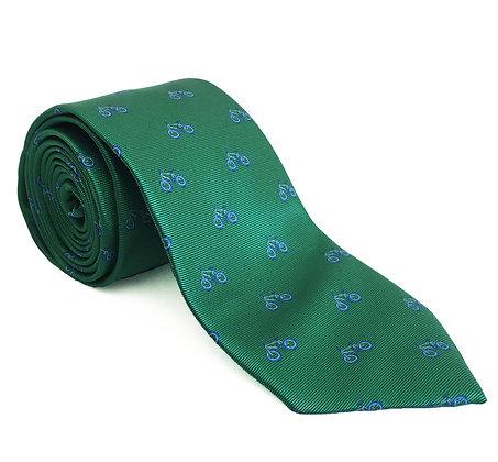 Corbata verde bicicleta azul