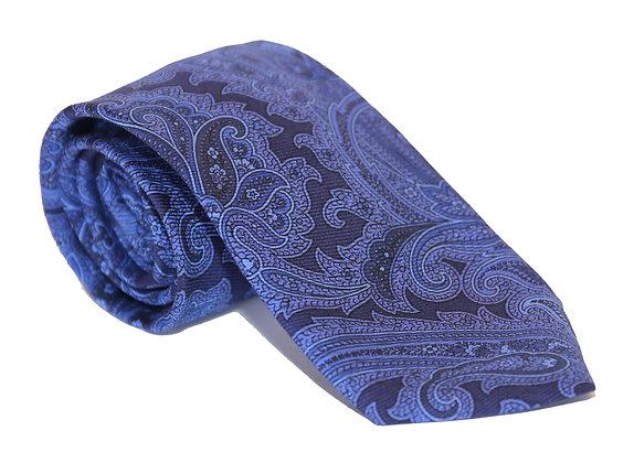 Corbata azul paisley