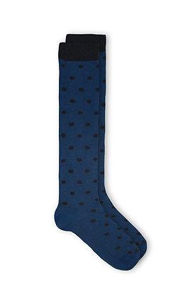 Calcetín Azul Lunares Negros