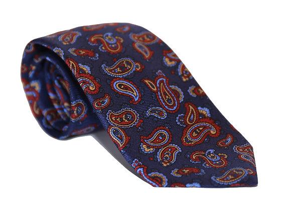 Corbata azul paisley rojo