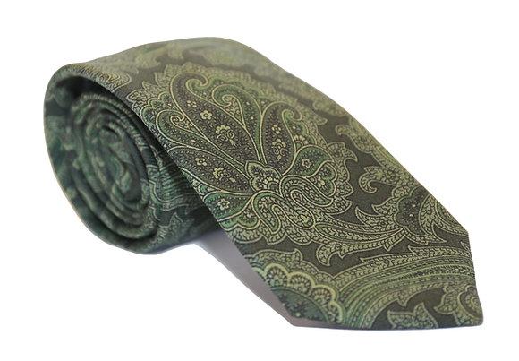 Corbata verde paisley