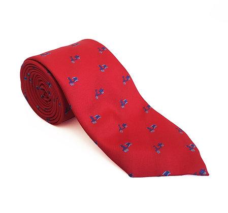 Corbata roja vespa azul