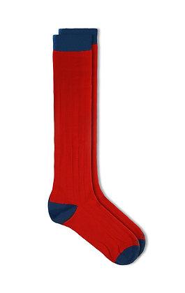 Calcetín Oxford rojo carmín con azul medio
