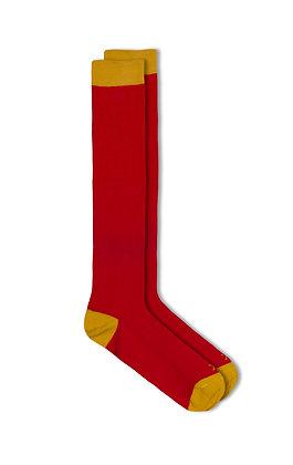 Calcetín rojo puntera amarilla Oxford