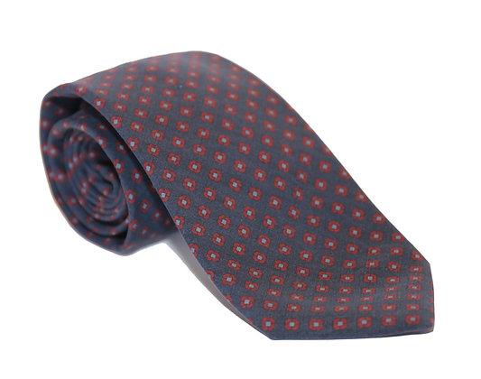 Corbata azul grisáceo flor roja