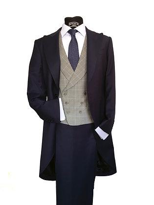 Chaleco príncipe de Gales gris perfil azul