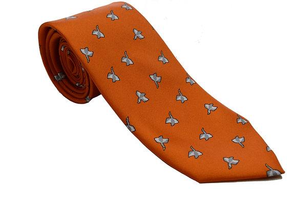 Corbata naranja pájaros