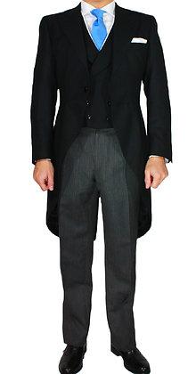 Chaleco Negro Granito con ribete Piqué Blanco