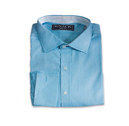 Camisa Azul Ópalo Cuello Italiano