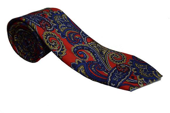 Corbata roja paisley azul
