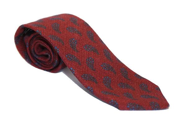 Corbata burdeos paisley azul