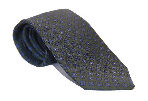 Corbata verde flores azules