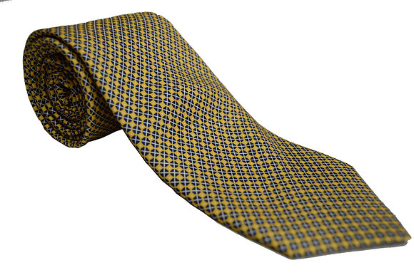 Corbata amarilla dibujo azul