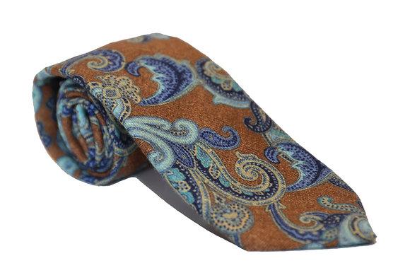 Corbata marrón estampado paisley azul