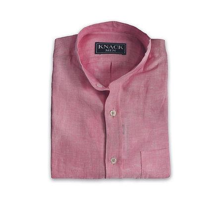 Camisa de Hilo Rosa Cuello Mao