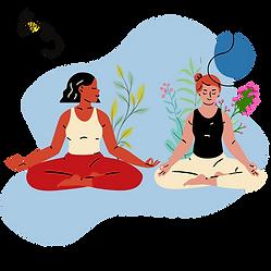 2 people doing yoga
