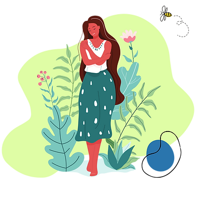 Lady standing in shrubbery