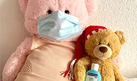 Stuffed animals with face mask and hand sanitizer