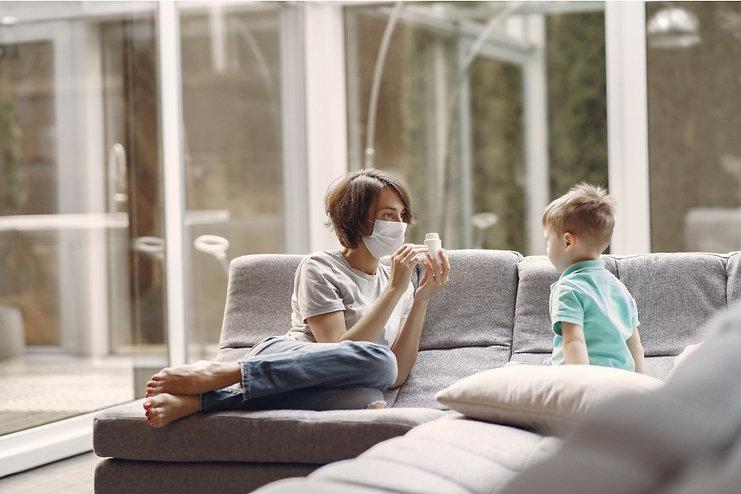 Parent advisng child about coronavirs dangers