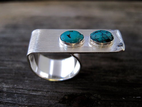 Double turquoise bar ring