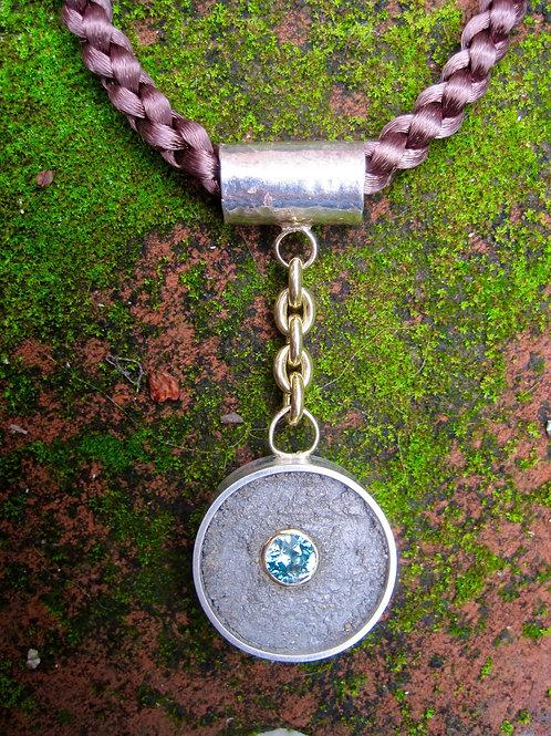 Sterling silver/14KYG concrete pendant