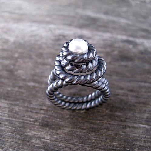 Blackened sterling coil ring with pearl