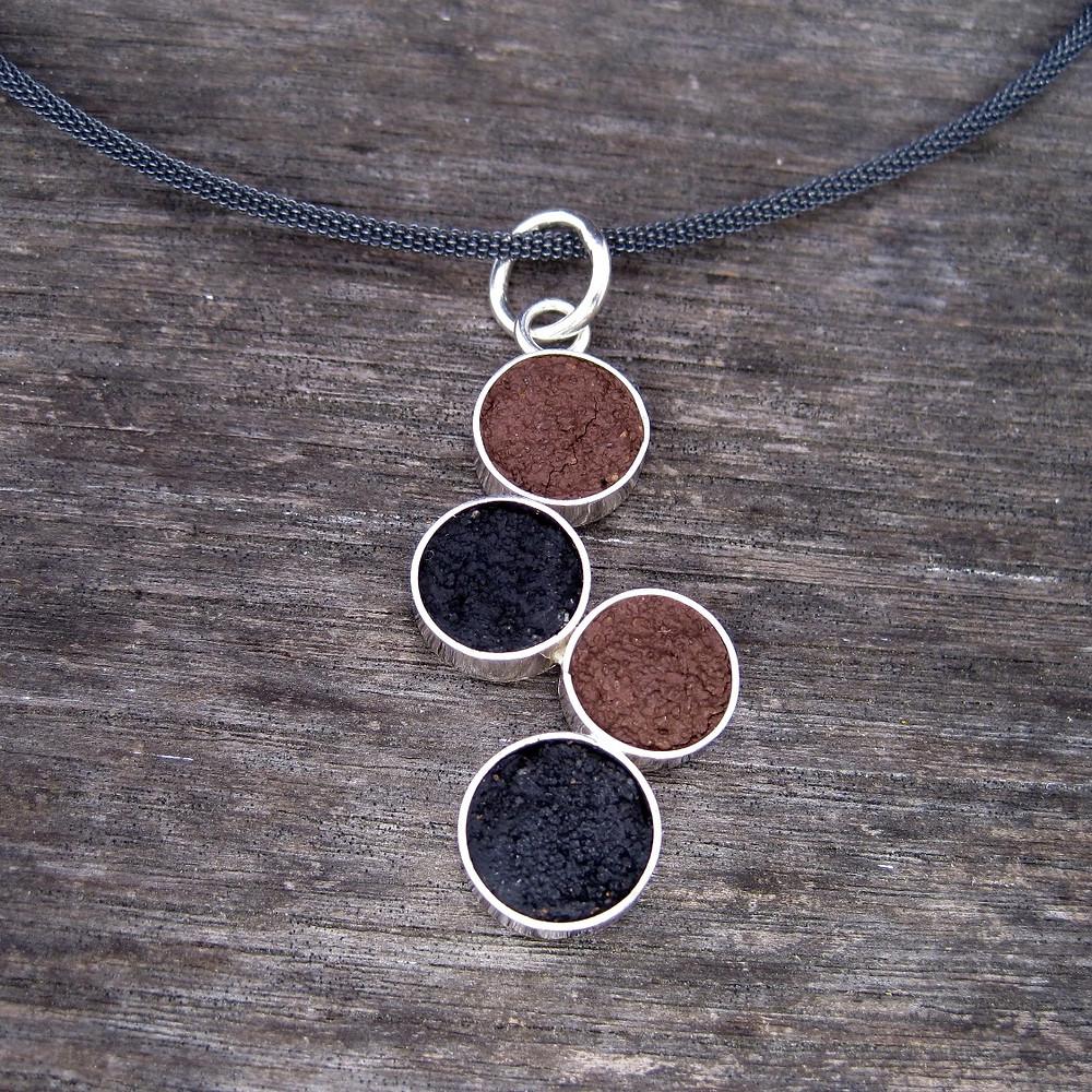 Colored concrete necklace.