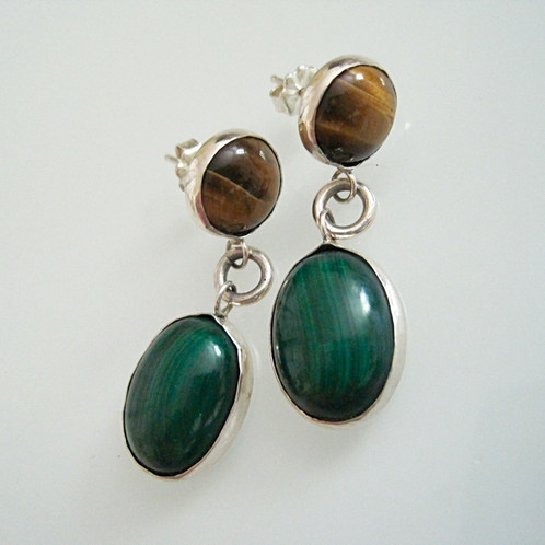 Gorgeous Drop Earrings Handcrafted In Sterling Silver With A Round Tiger Eye On And An Oval Malachite So Chic