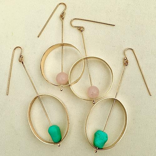 Dangle loop earring with genuine stones