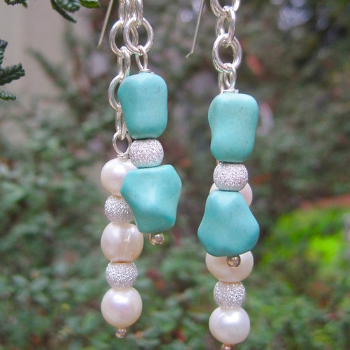 Turquoise and fresh water pearl earrings