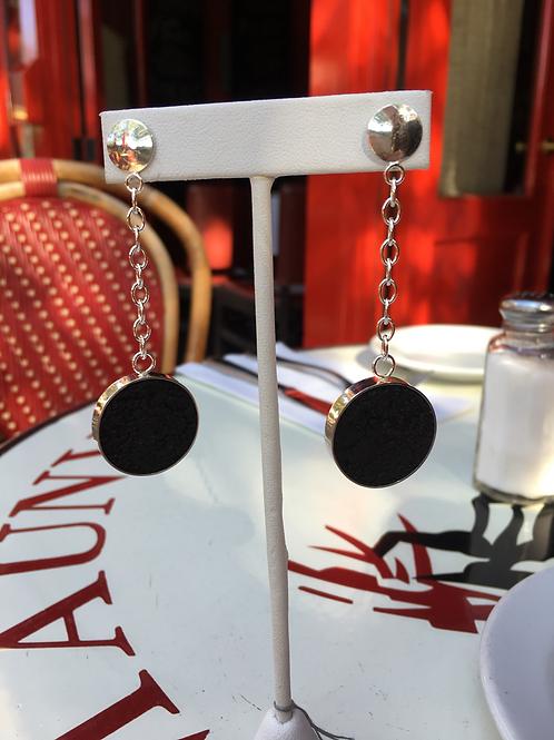 Black concrete dangle earrings